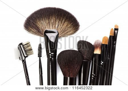 Various Makeup Brushes Isolated On White