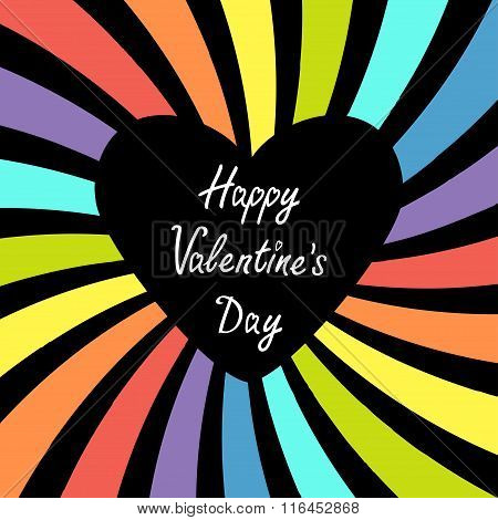 Heart With Rainbow Colorful Sunburst. Happy Valentines Day Card. Multicolor Background. Flat Design.