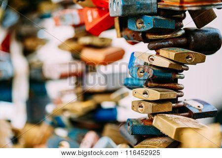 Lots of love locks on bridge in European town