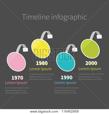 Infographic Timeline Four Step Round Circle Wobbler. Template. Flat Design.
