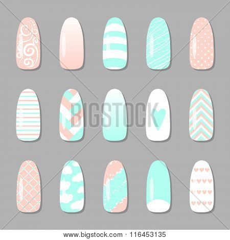 Set Of Different Nail Pictires