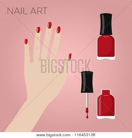 Hand With Manicure And Bottles Of Nail Polish