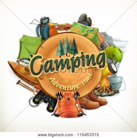 Camping, adventure time vector illustration