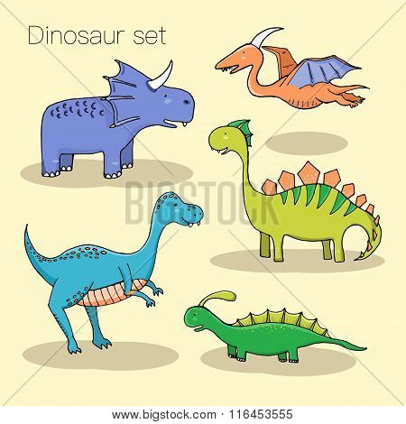 Set Of Different Cute Dinosaurs, Mountauns And Eggs In Cartoon Style.
