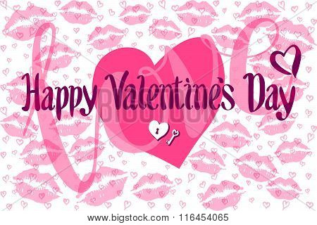 Vector Romantic Card With Heart Consist Of Prints Of Lips Happy Valentines Day