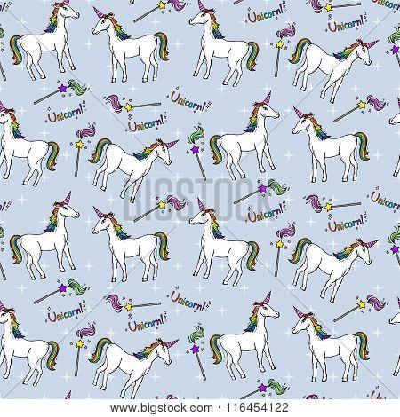 Seamless Pattern With Unicorns And Magic Wands