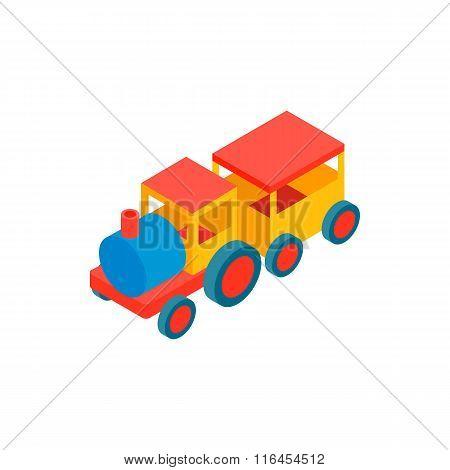 Train in amusement park isometric 3d icon