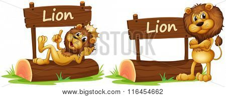 Two lions standing by the wooden sign illustration
