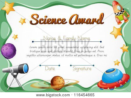 Certification template for science award illustration