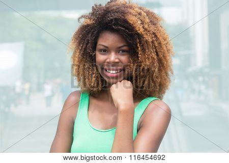 African American Girl With Amazing Hairstyle In The City