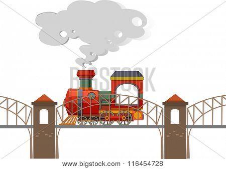 Train riding over the bridge illustration