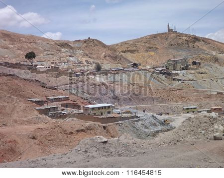 Cerro Rico Hill With Silver Mines  In Potosi