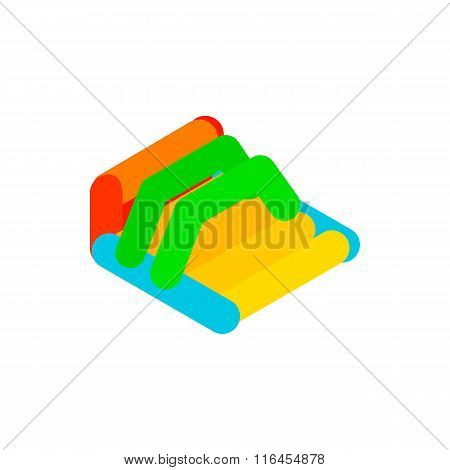 Inflatable trampoline isometric 3d icon