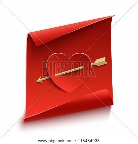 Red, curved, paper banner with heart and arrow.