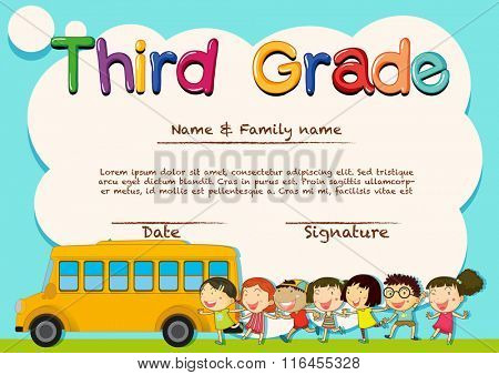 Diploma for third grade students illustration