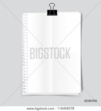 Collection of white papers, ready for your message. Vector illustration.