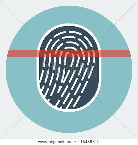 Fingerprint scan flat icon