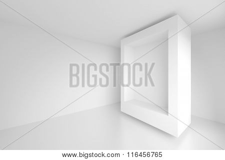 3d White Empty Room. Modern Architecture Background