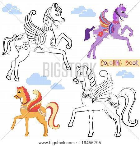 Coloring book with two beautiful flying horse with colored wings