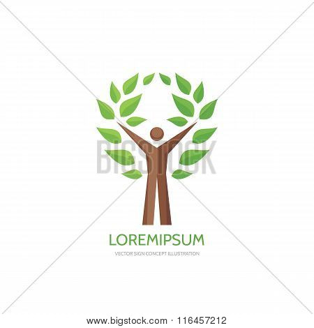 Human tree - vector logo concept illustration. Ecology logo sign. Nature logo sign. Eco logo sign.