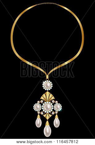 Gold necklace with pearls