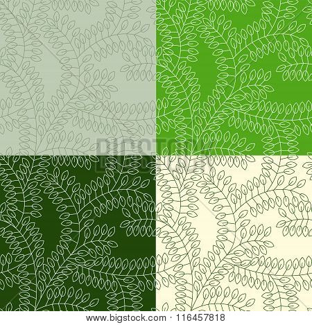 Seamless Pattern Made Of Leaves Painted In 4 Different Styles In Green Colors. Objects Grouped And N