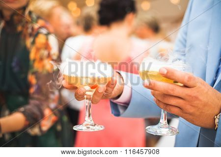 The Champagne Sparkling In The Glasses