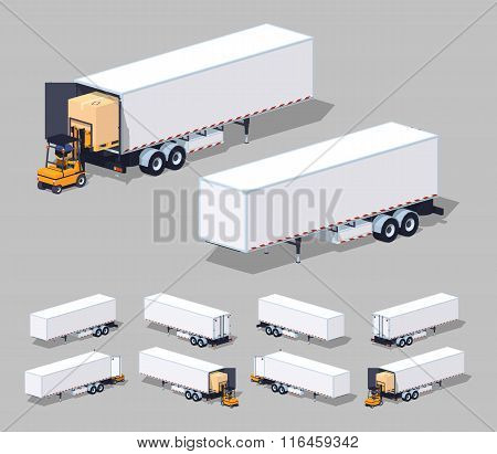 Large white cargo trailer. Loading or unloading