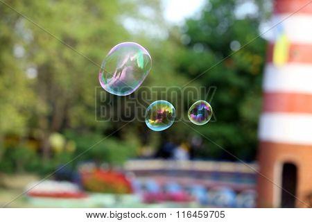 Soap bubbles outdoor