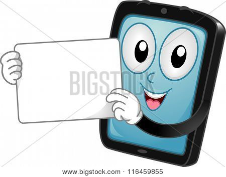 Mascot Illustration of a Tablet while showing a white board