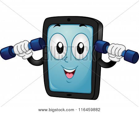 Mascot Illustration of a Tablet/Mobile Phone while following a fitness app
