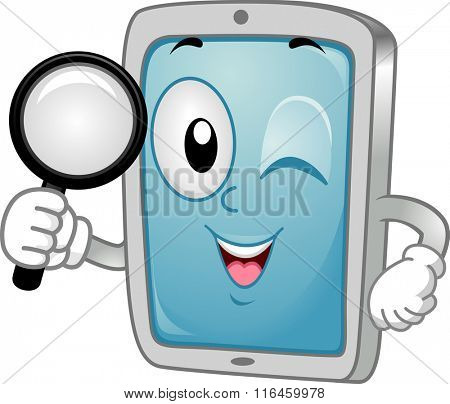 Mascot Illustration of a Tablet / Mobile Phone handling a Magnifying Glass searching for App