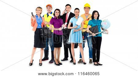 Group of Asian men and women with various professions - construction worker, teacher, businessman, handyman, and call center agent