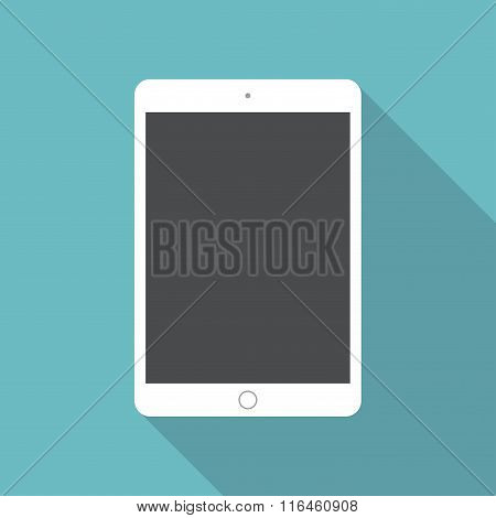Tablet Icon In The Style Flat Design On The Blue Background. Stock Vector Illustration Eps10