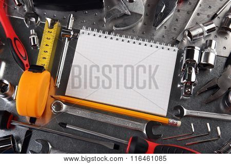 Different kinds of tools closeup