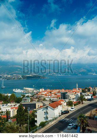 Top View Of The Seacoast Of Budva, Montenegro