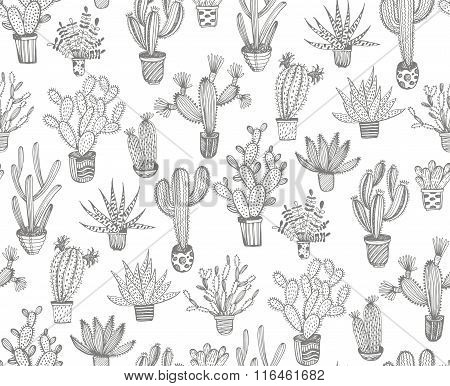 Seamless Pattern With Hand Drawn Cactus In A Pots.