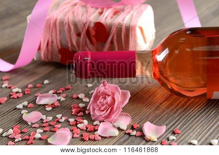 Decorative setting on St. Valentine's occasion, close-up