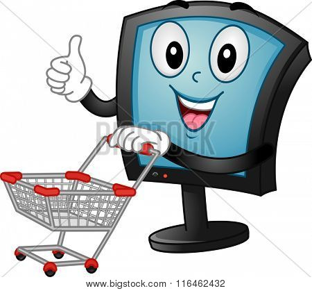 Mascot Illustration of a Monitor pushing a Shopping Cart