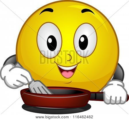 Mascot Illustration of a Smiley while Enjoying Cooking