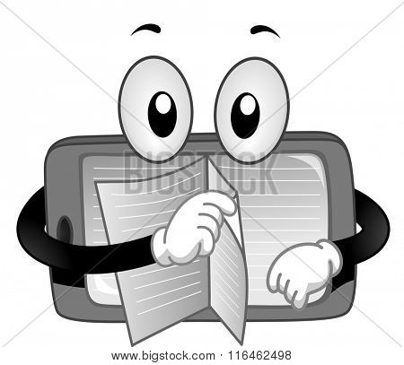 Mascot Illustration of a Tablet while turning each pages of the book