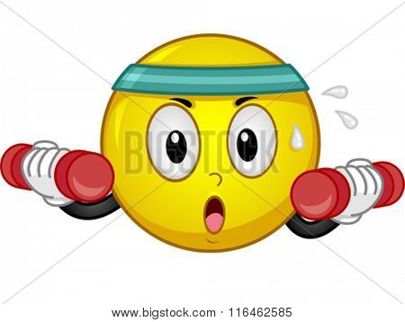 Illustration of a Smiley wearing a Headband while working out with a dumbbell