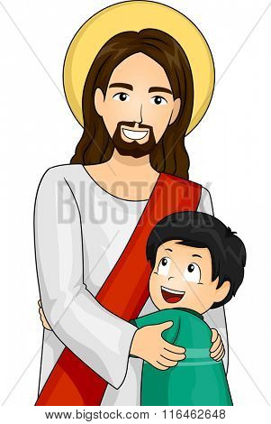 Illustration of Jesus Christ and a Happy Boy giving each other a Hug