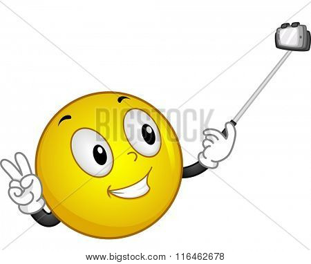 Mascot Illustration of a Smiley handling a Selfie Stick
