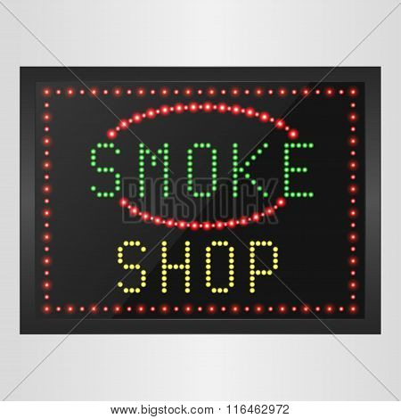 Shining retro light banner of smoke a shop on a black background
