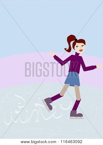 Vector Illustration Of Girl Skating On Ice Rink Wrote