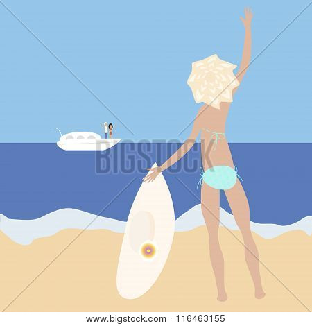 Vector Illustration Of Blonde Slim Girl Staying At The Sea-side With Big Hat Waving Her Hand To A Pe