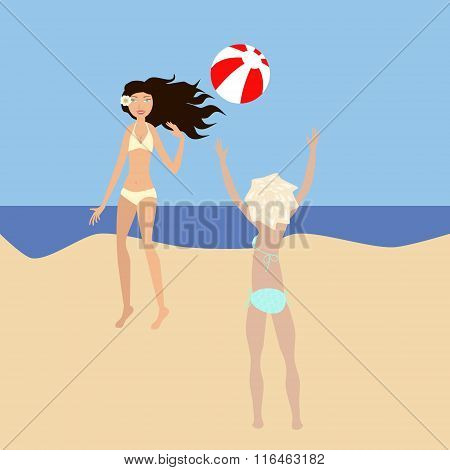 Vector Illustration Of Two Girls Playing Ball At The Seaside. No Mesh And Transparency Used. Gradien
