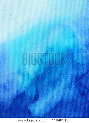Hand drawn backdrop. Imitation of water or sky. Ink illustration. Artistic painting. Watercolor on canvas. Hand painted backdrop.