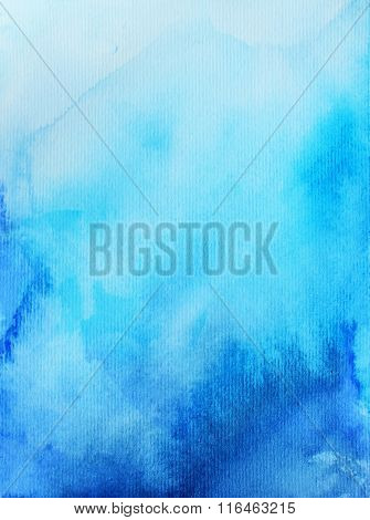 Hand painted blue backdrop. Ink illustration. Imitation of water or sky. Artistic watercolor background.